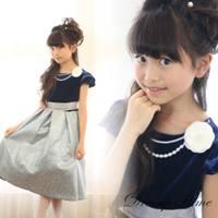 子供ドレス ネックレス&コサージュ付き ワンピースドレス